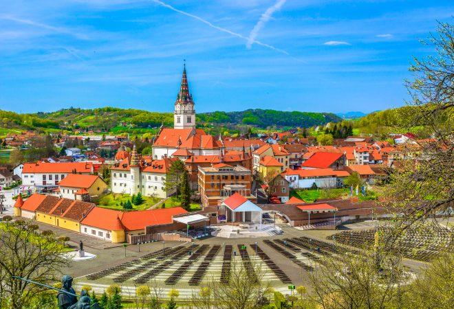 Aerial view at marble marian shrine Marija Bistrica in Zagorje region, Croatia Europe.